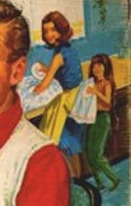 Detail of mother and daughter doing the dishes while father and son play Battleship
